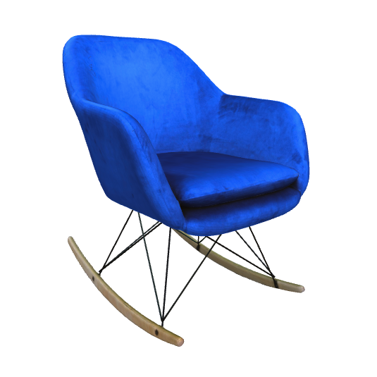Blue Rocking Chair in 3D